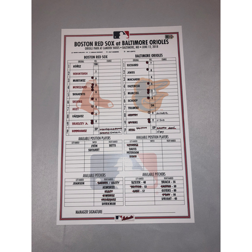 Photo of Orioles at Red Sox June 12, 2018 Game-Used Lineup Card - Red Sox Win 6 to 4