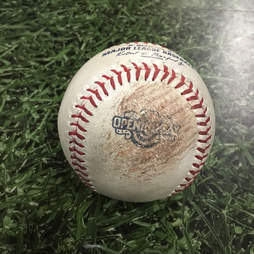 Photo of Game-Used Opening Day Baseball COL@MIL  04/03/17 - Junior Guerra - Trevor Story: Strike