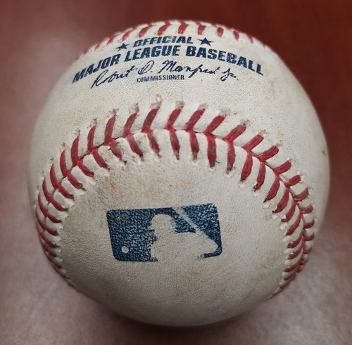 Photo of Authenticated Game Used Canada Day Baseball - Single by Rowdy Tellez against Wily Peralta (July 1, 19). Bottom 8