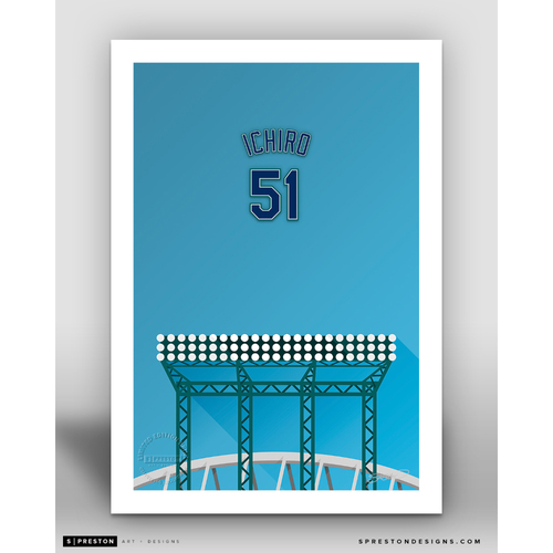 Photo of Minimalist T-Mobile Park Ichiro Suzuki Player Series Art Print by S. Preston - Limited Edition