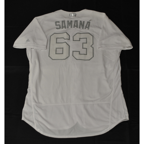 """Photo of Diego """"SAMANÁ"""" Castillo Tampa Bay Rays Game-Used 2019 Players' Weekend Jersey"""