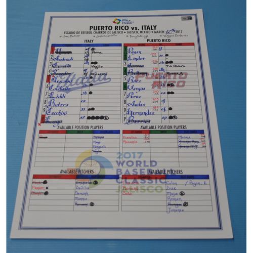 Photo of 2017 Game-Used World Baseball Classic Line-Up Card - Puerto Rico vs Italy - Jalisco, Mexico - 03/12/2017 - Italy Dugout