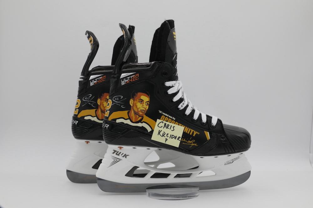 Willie O'Ree Custom Bauer Skates autographed by Chris Kreider - New York Rangers  - Not Worn