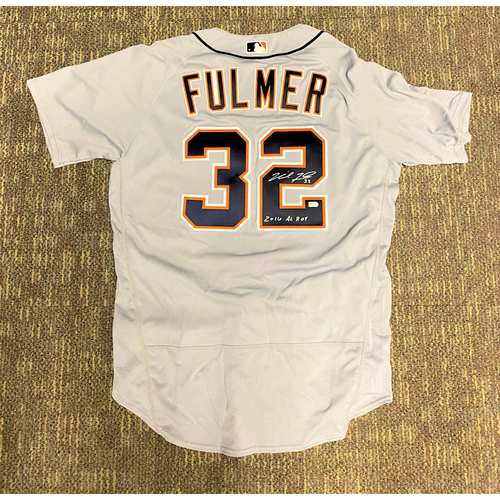 "Photo of Michael Fulmer Detroit Tigers Autographed Road Jersey with ""2016 A.L ROY"" Inscription (MLB AUTHENTICATED)"