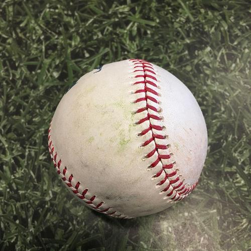 Photo of Game-Used Baseball PIT@MIL 06/13/21 - Adrian Houser - Ke'Bryan Hayes: Single