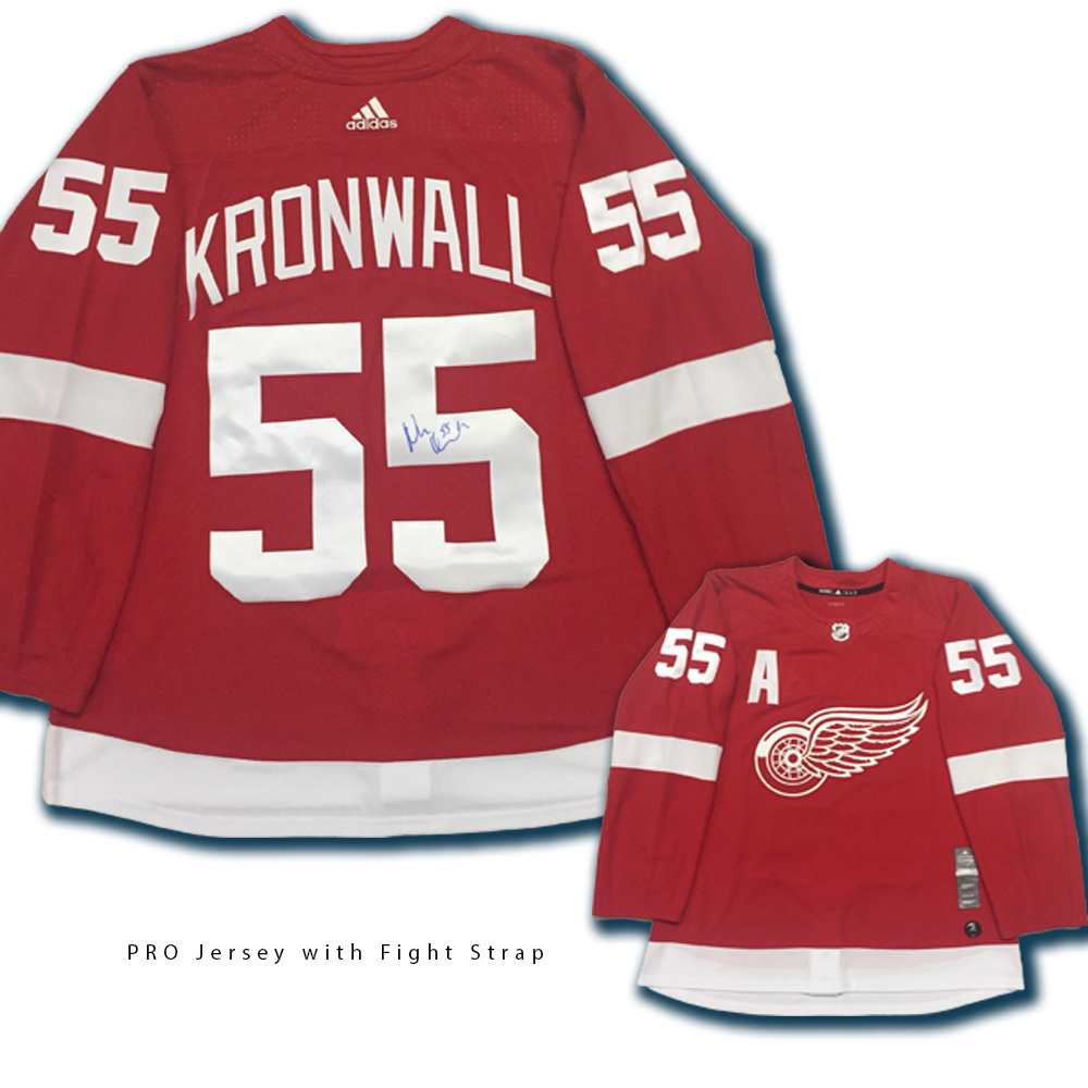 NIKLAS KRONWALL Signed Detroit Red Wings Red Adidas Jersey