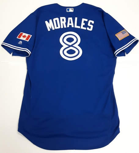 Photo of Authenticated Game Used 2018 Independence Day Jersey (July 4, 2018) - #8 Kendrys Morales: 3-for-4 with 1 HR, 1 Double, 3 Runs and 1 RBI. Size 50.