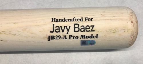 Photo of Javier Baez Game-Used Cracked Bat -- Brian Flynn to Javier Baez, Ground Out, Top 7 -- Cubs at Royals -- 8/7/18