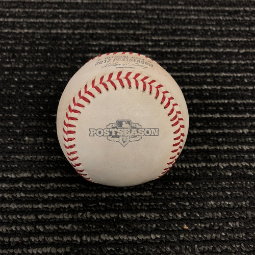 Photo of 2012 Postseason Game Used Baseball - NLDS Game 1 vs. Cincinnati Reds - Sean Marshall to Angel Pagan - Foul Ball