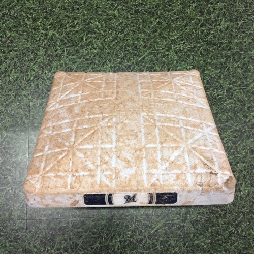 Photo of Game-Used 2nd Base (INN 1-9) STL@MIL 04/15/19 - Christian Yelich 1st Career 3 HR Game