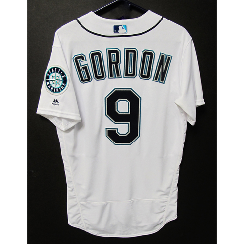 Photo of Dee Gordon Game-Used Home White Jersey - Angels vs. Mariners - 6/11/18