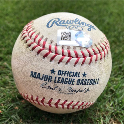 Photo of Game-Used Baseball - Mike Minor Strikeouts (Jonathan Villar/Keon Broxton) - 6/5/19