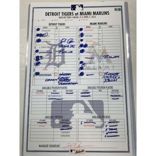 Photo of Autographed Game-Used Line-Up Card: Miguel Cabrera 2016 Opening Day