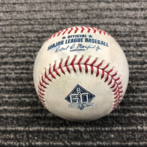 Photo of 2018 Game Used Baseball - SF vs LAD - September 29, 2018 - T-9: Will Smith to Yasiel Puig - Strikeout Swinging. Also Yasmani Grandal Foul Ball