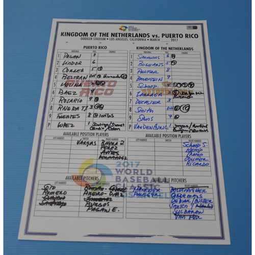 Photo of 2017 Game-Used World Baseball Classic Line-Up Card - Kingdom of Netherlands vs Puerto Rico - Puerto Rico Dugout