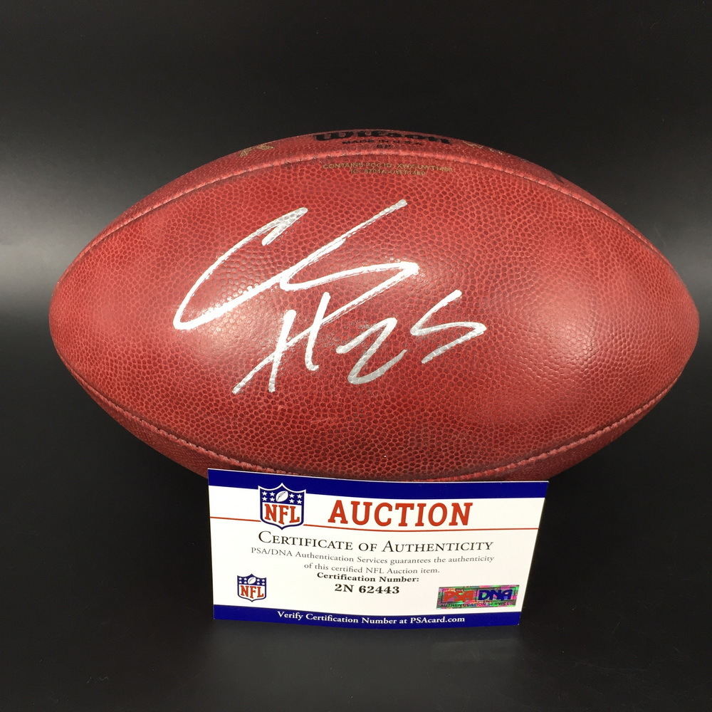 STS - Broncos Chris Harris Jr. Signed Game Used K Ball with 100 Seasons Logo (11/3/19)