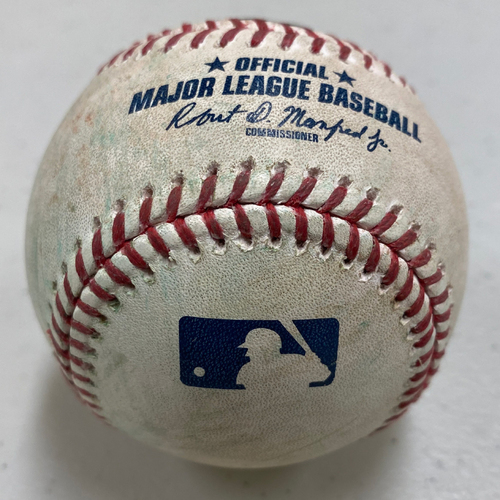 Photo of 2019 Game Used Baseball used on 5/11 vs. CIN - B-4: Anthony DeSclafani to Steven Duggar - 2 RBI Triple to RF (Crawford & Pillar Score)