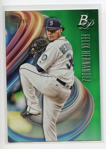 Photo of 2018 Bowman Platinum Green #71 Felix Hernandez