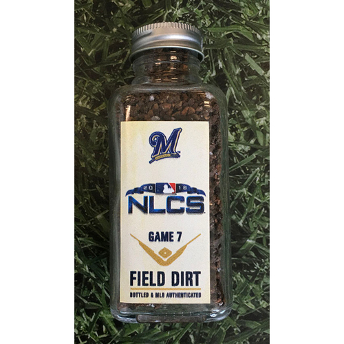 Photo of Game-Used Bottled Dirt - 2018 NLCS Game 7 LAD@MIL - 10/20/18