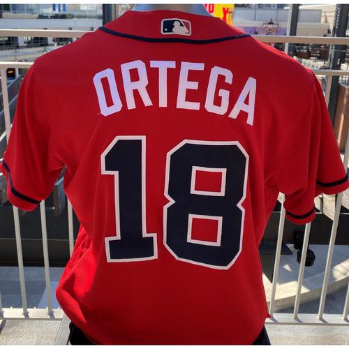 Photo of Rafael Ortega Game-Used Los Bravos Red Jersey