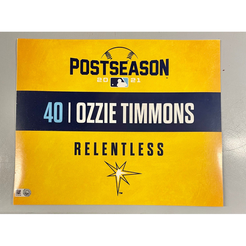 Photo of Game Used ALDS Locker Tag: Ozzie Timmons - Game 1 & 2 - October 7-8, 2021 v BOS