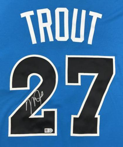 Photo of Mike Trout Autographed 2017 All-Star Game Batting Practice Jersey