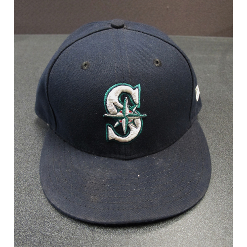 Photo of Edgar Martinez Team-Issued Navy Cap 2017. Cap Size - 7 1-4