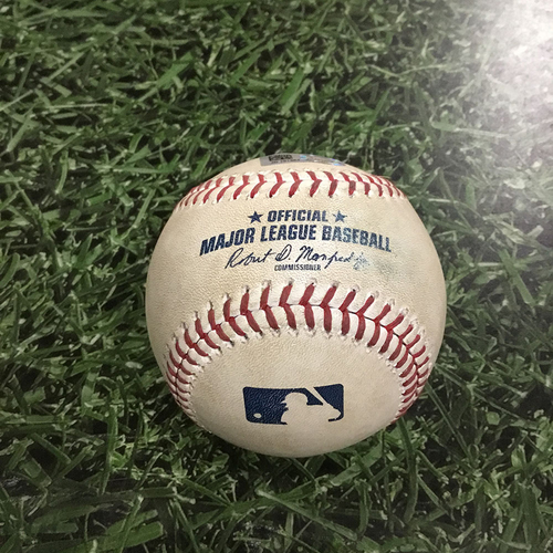 Photo of Game-Used Baseball CLE@MIL  05/08/18 - Corey Kluber - Nick Franklin: Strike