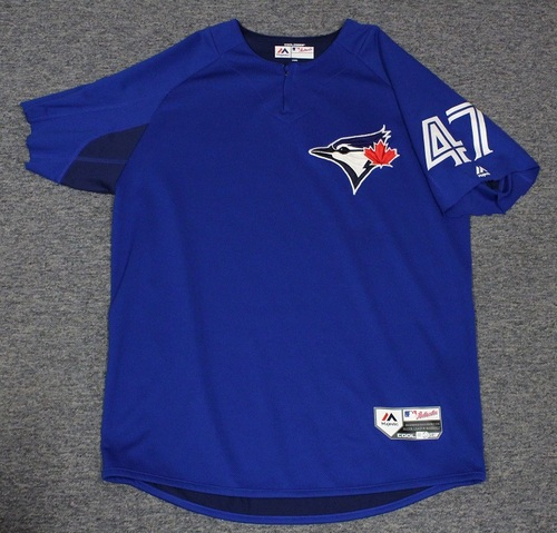 Photo of Authenticated Team Issued Batting Practice Jersey - #47 Chris Rowley. Size L. Part of Sleeves cut off.