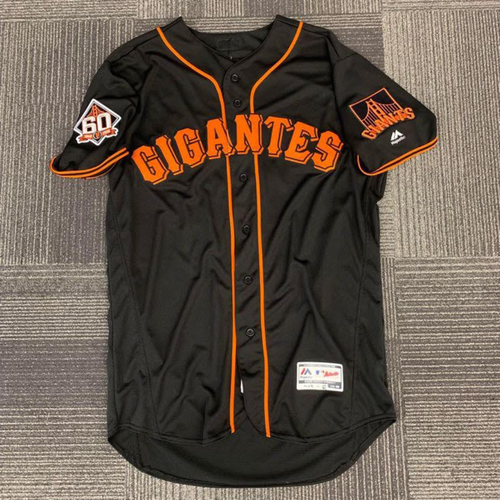 Photo of End of Year Auction - 2018 Game Used Fiesta Gigantes Black Home Jersey - worn by #12 Joe Panik - size 46