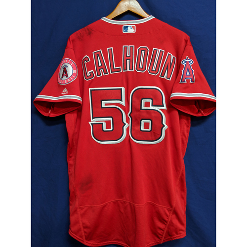 Photo of Kole Calhoun 2018 Alternate Red Game-Used Jersey (Used for 3 Games)