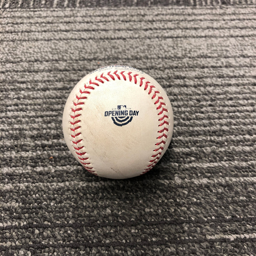 2019 Game Used Opening Day Baseball Used on 4/5 vs Tampa Bay Rays - T-1: Dereck Rodriguez to Willy Adames - Foul Ball