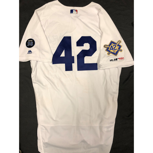 Photo of 2019 Game Used Home #42 Jersey worn by #27 Outfielder Alex Verdugo on 4/15 Jackie Robinson Day against Cin. 2 AB, BB. Dodgers 4-3 victory against Cincinnati. - Size 46