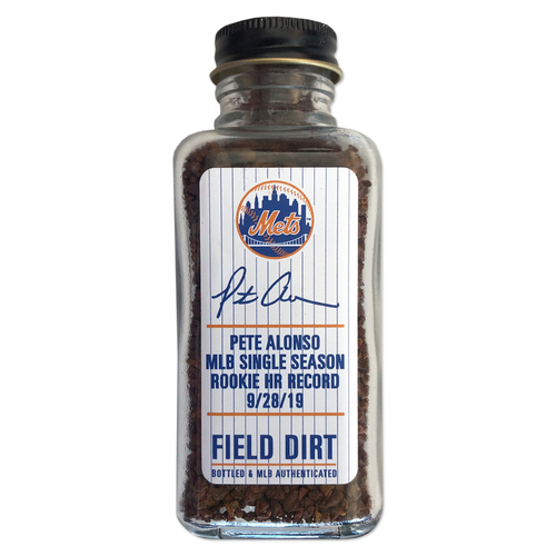 Photo of Game Used Citi Field Dirt Jar - Pete Alonso Sets MLB Single Season Rookie Home Run Record - Mets vs. Braves - 9/28/19