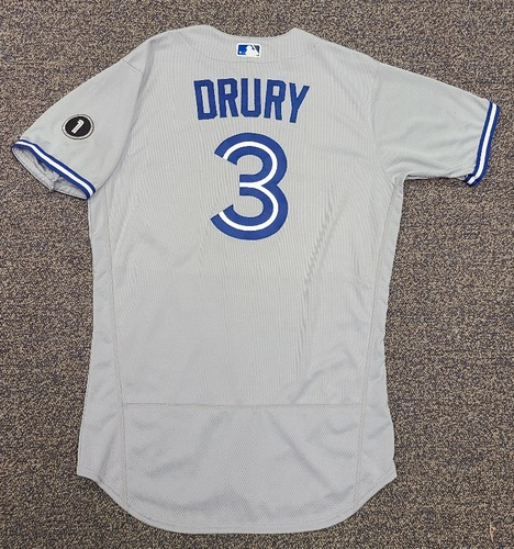 Photo of Authenticated Team Issued Jersey: #3 Brandon Drury (2020 Season). Set 2. Size 44.