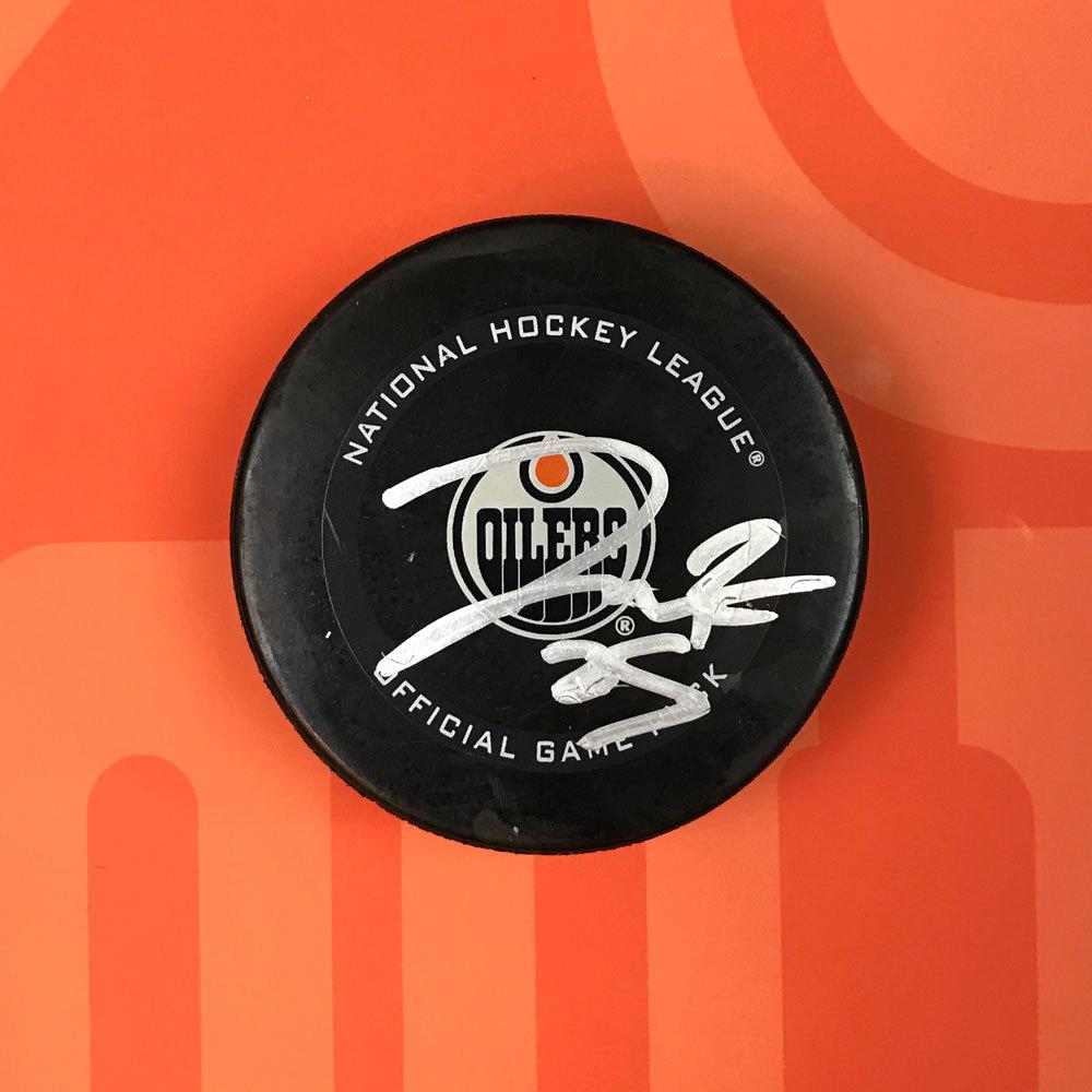 Darnell Nurse #25 - Autographed 32nd NHL Career Regular Season Edmonton Oilers Goal Puck Scored On February 2nd, 2021 vs. Ottawa Senators (Third Of Season)