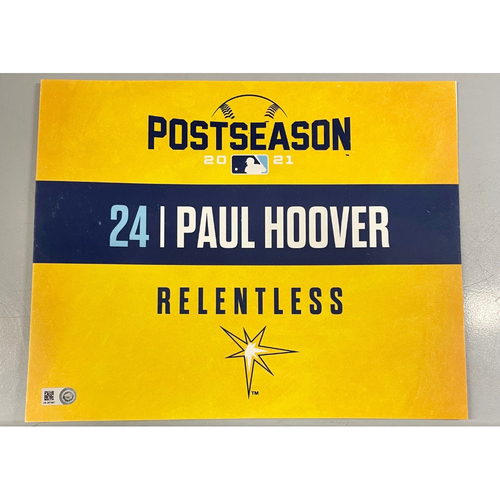 Photo of Game Used ALDS Locker Tag: Paul Hoover - Game 1 & 2 - October 7-8, 2021 v BOS