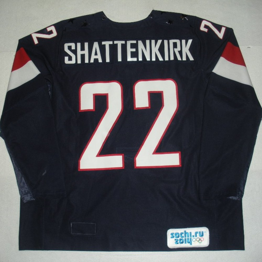 Kevin Shattenkirk - Sochi 2014 - Winter Olympic Games - Team USA Blue Game-Worn Jersey - Bronze Medal Game vs. Finland, 2/22/14