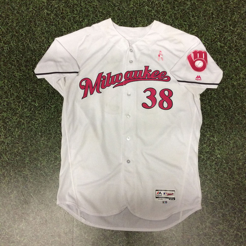 Photo of Wily Peralta 2017 Game-Used Mother's Day Tribute Jersey