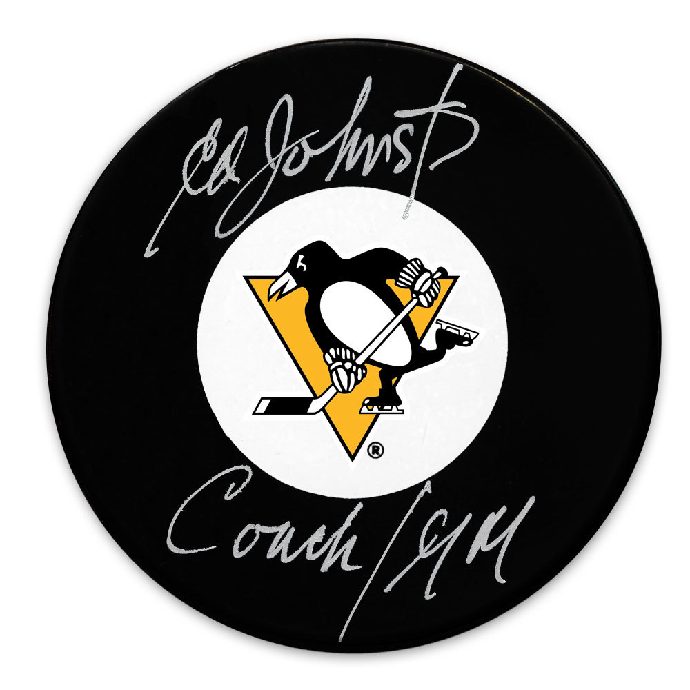 Ed Johnston Pittsburgh Penguins Coach / General Manager Autographed Puck