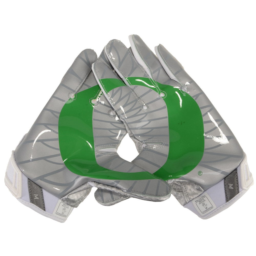 Oregon Ducks Team-Issued White, Silver, and Green Vapor Jet 3 Nike Football Gloves - Size 2XL