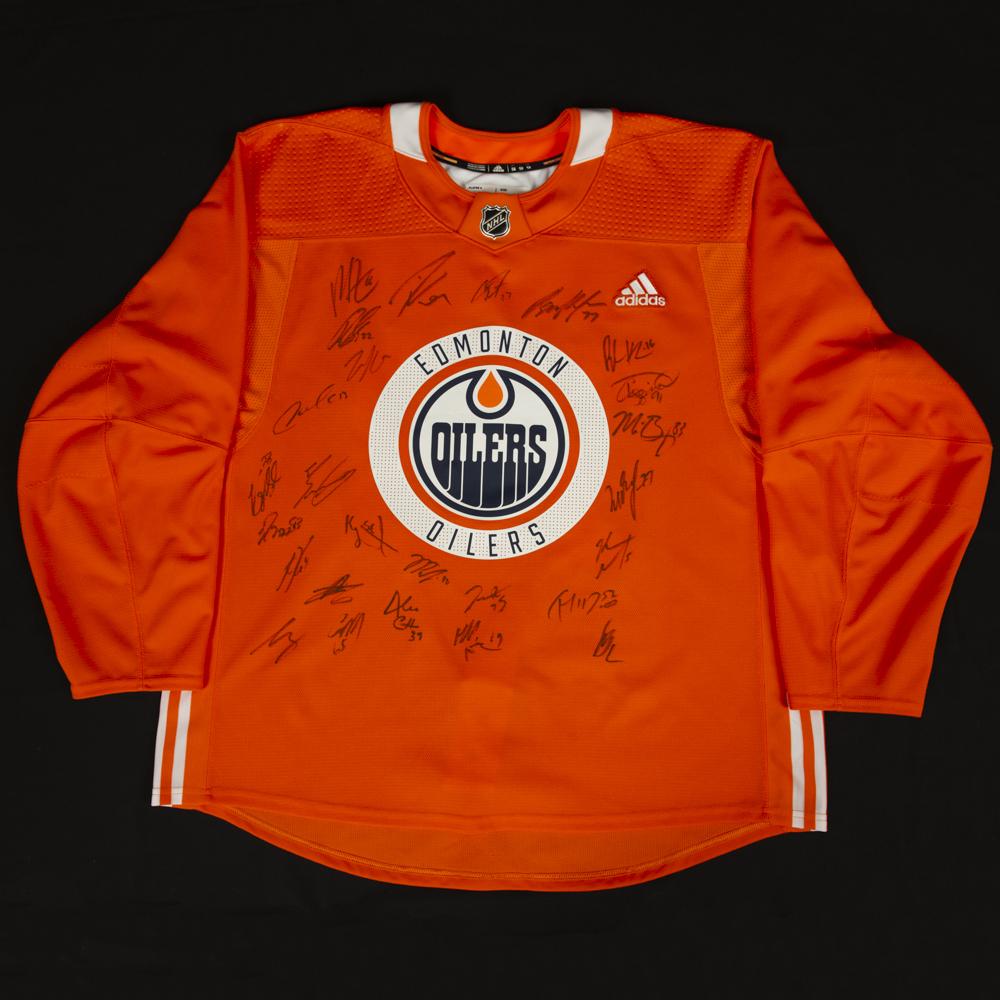 2018-19 Edmonton Oilers Team-Signed Orange Adidas Used Practice Jersey 5f3e83e76e3