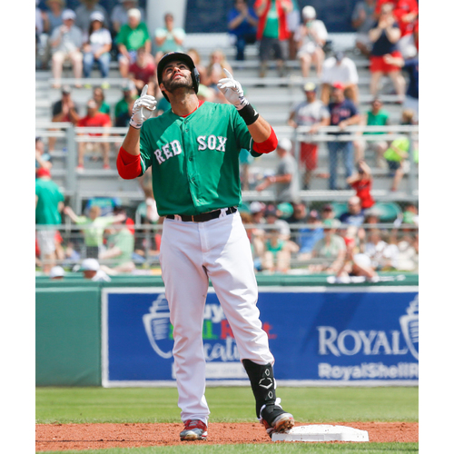 Photo of Red Sox Foundation St. Patrick's Day - J.D. Martinez Game-Used and Autographed Jersey