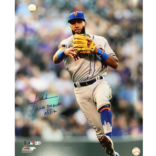 "Photo of Amed Rosario - Autographed 16x20 Photo - Inscribed ""MLB Debut 8/1/17"""