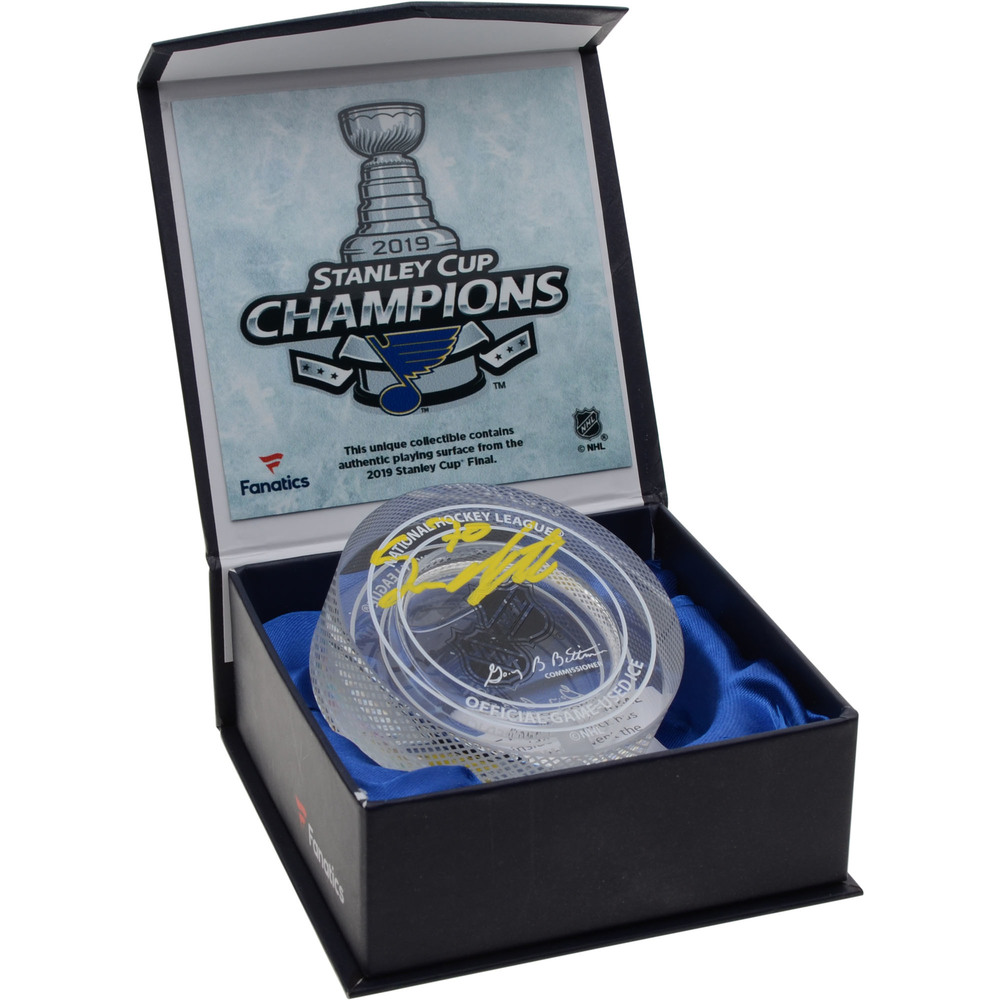 Oskar Sundqvist St. Louis Blues 2019 Stanley Cup Champions Autographed Crystal Hockey Puck - Filled with Ice from the 2019 Stanley Cup Final