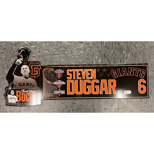 """Photo of 2019 Locker Tag - """"Thank You Boch!"""" Special Edition Team-Issued Locker Tag - used for Final Series of Bochy's Career - #6 Steven Duggar"""