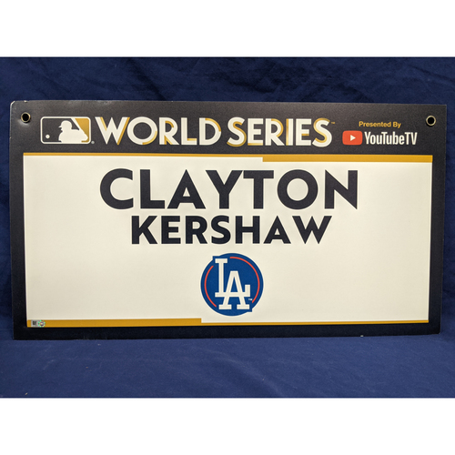 Photo of Team-Issued Clayton Kershaw 2017 World Series Media Day Sign