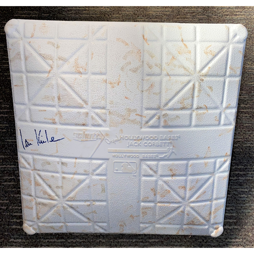 Ian Kinsler Autographed Detroit Tigers Comerica Park Game-Used Base with 4 Time AL-Central Division Champs and Detroit vs New York Yankees Base Jewels (MLB AUTHENTICATED)