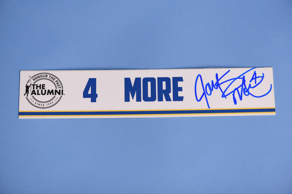 Jayson More autographed 2020 NHL Alumni All Star Game Locker Room Stall Nameplate