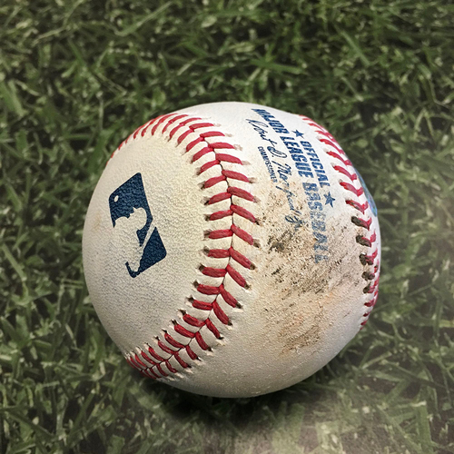 Photo of Game-Used Baseball ARI@MIL 06/04/21 - Freddy Peralta - Carson Kelly: Strikeout (6th Strikeout of Game; Peralta No-Hit Bid Broken Up with One Out in 8th Inning)